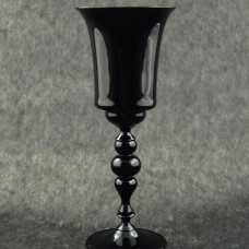 Black goblet with baluster stem, topped by two spheres